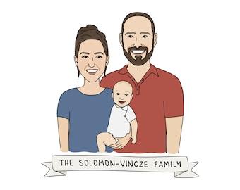 Family Portrait Gift Custom Digital Illustration - Gift for Mom, Custom Portrait, Custom Family Illustration, Custom Family Portrait,