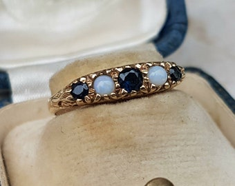 Pretty Sapphire and Opal 9ct Gold Ring