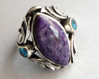 925 Sterling Silver Natural Purple Charoite Crystal Gemstone Handmade Ring Size 6.25 Unique Jewelry High Quality Gift Ideas # 15112