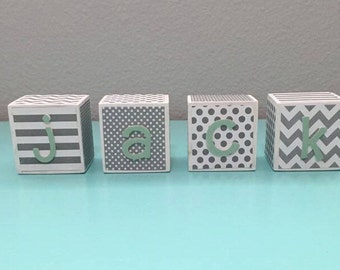Custom Baby Name Blocks - White, Gray, & Mint