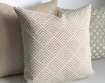 White and beige chenille triangle chevron geometric decorative pillow cover
