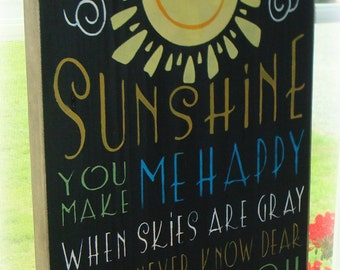 You are my sunshine wood sign. Sunshine sign. Large hand painted sign. Subway sign. Typography sign. Rustic sign. Inspirational sign. sign