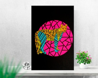 """Paper Art """"Puma Chileno """" / illustracion/ handmade/ collage"""