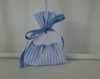 Box dragees striped blue and white, blue drawstring bags