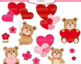 ON SALE Valentine's clip art - instant download Digital clip art, Bears with heart, Bears clip art, engagement