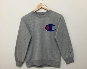 Champion Sweatshirt/Vintage Kids Champion Sweatshirt/Champion Big Logo Sweater/Streetwear/Heather Grey/Size 150