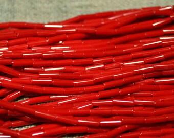 1 Hank Seed Bugle Beads 6x2mm Opaque Red  Preciosa Czech Glass