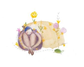 watercolor painting, whimsical art, healing art, childrens wall art, peaceful, tortoise, cute, naive, folk ORIGINAL artwork