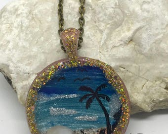 Necklace with Tropical landscape