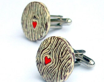 Woodgrain Cufflinks, Wood You Love Me Cuff links, Faux Bois Cufflinks with Red Heart, Groom Gift, Valentine's Day Gift, Husband Gift