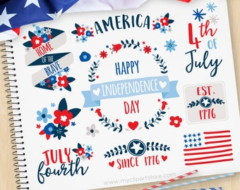 Independence Day Flowers, 4th of July Clipart, Floral Wreaths and Laurels, red blue flowers, Commercial Use, Vector clip art, SVG Files