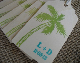 Beach Palm Tree Wedding Favor Tags Personalized Wood Tags - Set of 10 - Item 1549