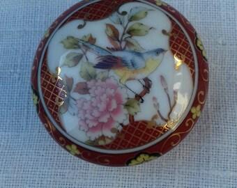 BOX porcelain bird flowers