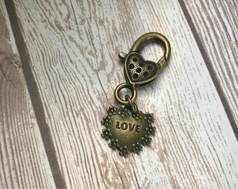 Dual Sided Love/Amour Antique Bronze Charm for Purse, Planner Accessory, Traveler's Notebook, Bracelet, Tote & Zipper Charm with Heart Claw