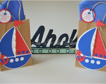 Nautical Favor Bags / Boat Favor Bags / Nautical Party Theme / Ahoy Nautical Party