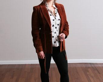 1970s Rust Colored Winlet Suede A-Line Princess Coat - Jacket - Hippy - Boho - Farm Style • S