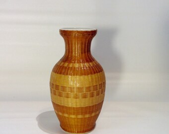 Vintage Classic Shaped Bud Vase with Woven Rattan Covering