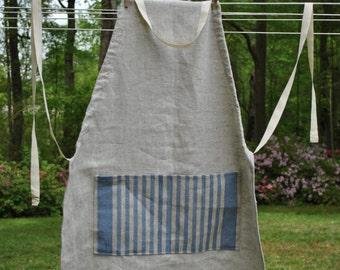 Blue & White Linen Apron