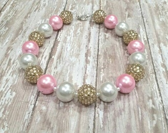 Birthday Bubblegum Necklace, pink and gold necklace,  pink baby necklace,  pink birthday, children's necklace, chunky bead necklace, Easter