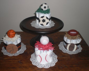 Sports Diaper Cake baseball, soccer, basketball, football baby shower centerpieces