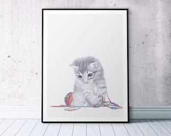 Baby Cat Printable, Kitten Poster, Kitten Art Print, Cat Lady Gift, Original Drawing, Cat Lover Gift, Kitten Playful Print, Cat Artwork