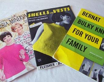 vintage KNITTING, CROCHET PATTERNS  magazines, leaflets  --  1950s-1960s