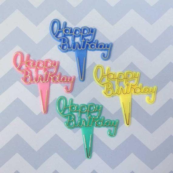 Happy Birthday Cupcake Topper Birthday Cake Picks Birthday