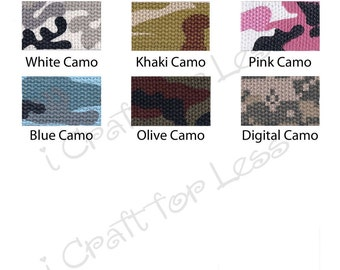 """10 Yards Camo Cotton Webbing - 1.25"""" Heavy Weight for Key Fobs, Purse Straps, Belting - SEE COUPON"""