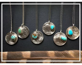 Buffalo Necklace with Turquoise, Sterling Silver