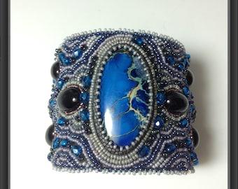 Blue embroidered bracelet