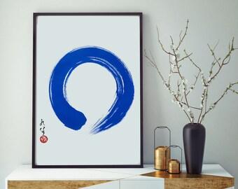 Zen Art Japanese Art Original Abstract Painting Blue Art Enso Zen Circle Modern Minimalist Abstract Art Japanese Calligraphy Inspirational