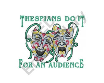 Thespians - Machine Embroidery Design, Theater, Drama Masks, Comedy and Tragedy