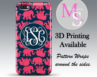 Monogram iPhone Case Personalized Phone Case Lilly Pulitzer Inspired Monogrammed Iphone 4, 4S, iPhone 5, 5S, 5C, 5SE iPhone 6, 7 Plus #2642