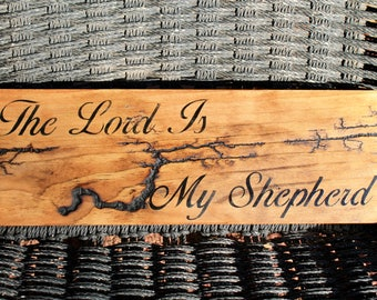 The Lord is my Shepherd electrified wooden sign