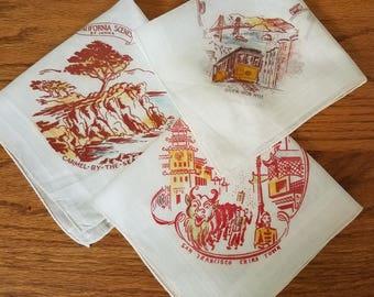 Vintage Handkerchief Trio (#2) California Famous Scenery 1940-1950s
