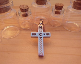 Holy Cross Pendant, Silver Onyx, Stainless Steel Cross Pendant, Jewelry for You