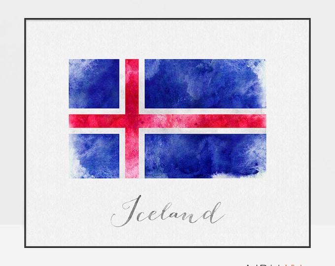 Iceland flag print, Iceland flag art poster, watercolor, Wall art, Iceland art, watercolor flag, office decor, Home Decor, ArtPrintsVicky
