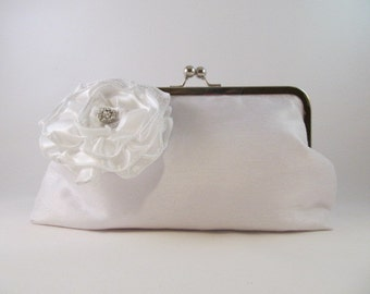 White Silk Clutch-Clutch-Purse-Handbag-Kisslock-8 inch