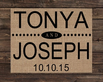 Personalized Burlap Art Print / Wedding Gift / Rustic Wedding Decor / Anniversary Gift / Bridal Shower Gift (#1253B)