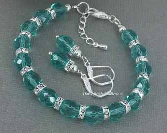 Teal Crystal Bracelet Teal Bracelet Bridesmaid Gifts Bridesmaid Jewelry Bridesmaid Bracelet Beach Wedding Maid of Honor Summer