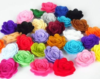 Felt Flower. 30 pcs Size 23 - 25mm. Pick your colors. For crafts, scrapbooking and more