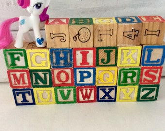 Wooden Blocks- 26 ABC Blocks - picture blocks -  toddler toys - UpCycle Supply - Nursery Decor  - baby shower - Classic Children