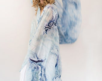 RESERVEDforJOANNE Nuno felt shawl, silk wool, white blue violet, natural dyes OOAK