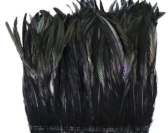 """BLACK COQUE Rooster Tail Feathers: 6-9"""" Length - Per 1 Foot Strung"""