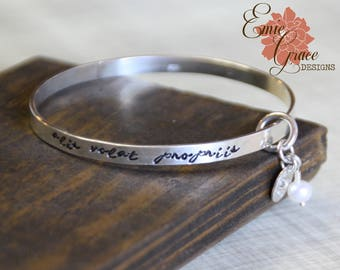 Sterling Silver Bangle Bracelet, Silver Bird, Pearl, Alis Volat Propriis, Hand Stamped, She Flies with Her Own Wings
