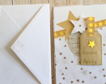 Card happy new year, scrapbooking, paper, white gold and silver, kraft and polka dots... .etoiles, writing...