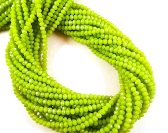 """Bright Green Chalcedony Hydro, Chalcedony, 3-3.5mm Hydro Beads , 13"""" Long Chalcedony Strands, Micro Faceted Chalcedony Beads Making Jewelry."""