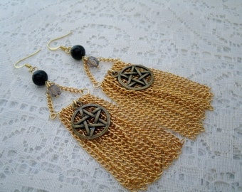 Pentacle Dangle  Earrings, wiccan jewelry pagan jewelry wicca jewelry witch metaphysical magic witchcraft goddess pentagram earrings