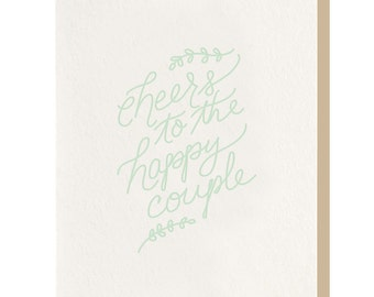Letterpress 'Cheers! To the Happy Couple' Greeting Card