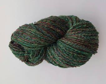 Green silk & wool yarn, handmade yarn, art yarn, knitting yarn, weaving yarn, crochet yarn, hand dyed hand spun yarn, 2-ply yarn